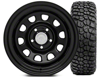 Mammoth D Window Steel 15x10 Wheel & BFG KM2 35x12.5 - 15 Tire Kit (87-06 Jeep Wrangler YJ & TJ)