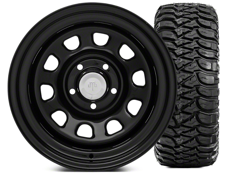 Mammoth D Window Steel 15x10 Wheel & Mickey Thompson Baja MTZ 33X12.50R15 Tire Kit (87-06 Jeep Wrangler YJ & TJ)