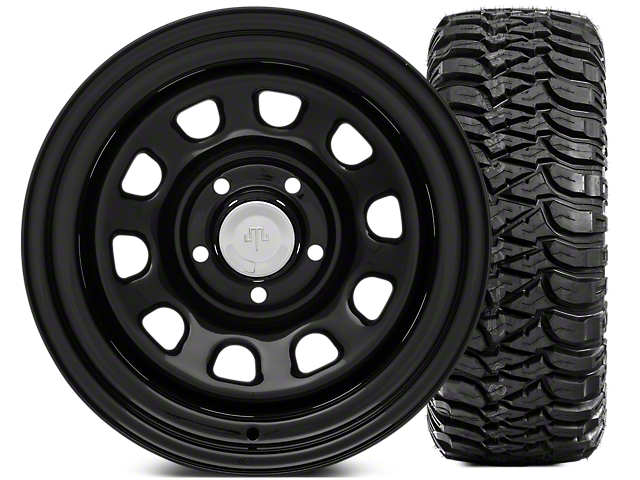 Mammoth D Window Steel 15x10 Wheel and Mickey Thompson Baja MTZ 33X12.50R15 Tire Kit (87-06 Jeep Wrangler YJ & TJ)
