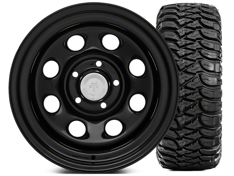 Mammoth 8 Steel 15x10 Wheel & Mickey Thompson Baja MTZ 33X12.50R15 Tire Kit (87-06 Jeep Wrangler YJ & TJ)
