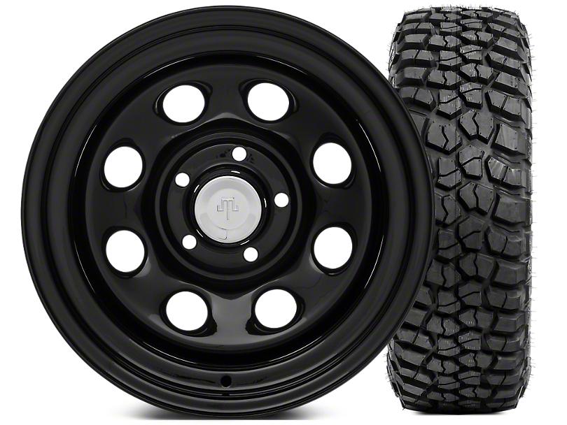 Mammoth 8 Steel 15x10 Wheel & BFG KM2 33x10.5- 15 Tire Kit (87-06 Jeep Wrangler YJ & TJ)