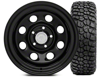 Mammoth 8 Steel 15x10 Wheel & BFG KM2 35x12.5- 15 Tire Kit (87-06 Jeep Wrangler YJ & TJ)