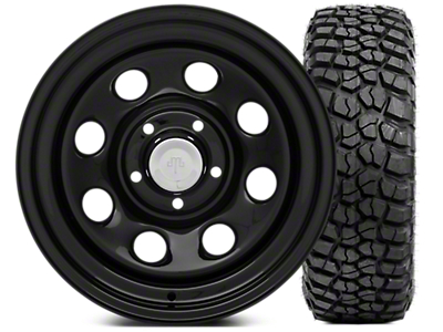 Mammoth 8 Steel 15x8 Wheel & BFG KM2 35x12.5- 15 Tire Kit (87-06 Jeep Wrangler YJ & TJ)