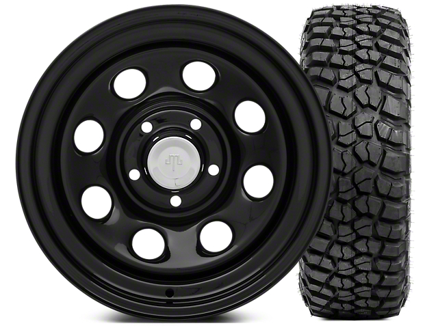Mammoth 8 Wheel - Steel Wheel 15x8 Wheel - and BFG KM2 33x10.5- 15 Tire Kit (87-06 Wrangler YJ & TJ)
