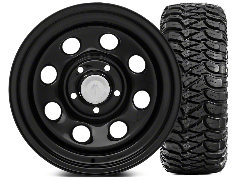 Mammoth 8 Steel 15x8 Wheel & Mickey Thompson Baja MTZP3 33X12.50R15 Tire Kit (87-06 Jeep Wrangler YJ & TJ)