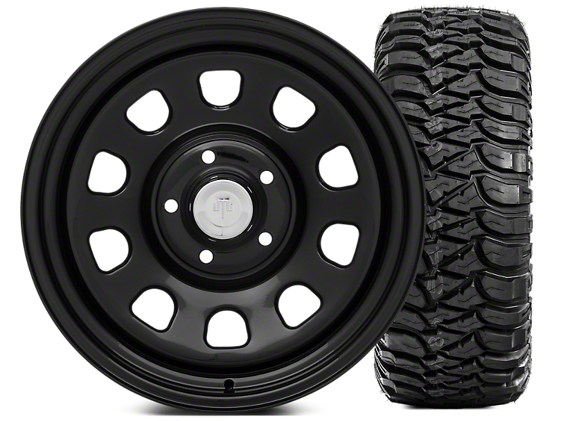 Mammoth D Window Steel 17x9 Wheel & Mickey Thompson Baja MTZ 305/65R17 Tire Kit (07-18 Jeep Wrangler JK)
