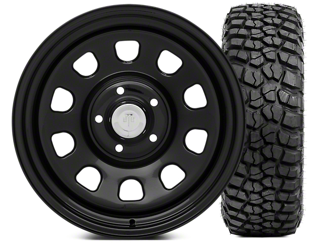 Mammoth D Window Steel 17x9 Wheel and BFG KM2 Tire 265/70; 17 Tire Kit (07-18 Jeep Wrangler JK)