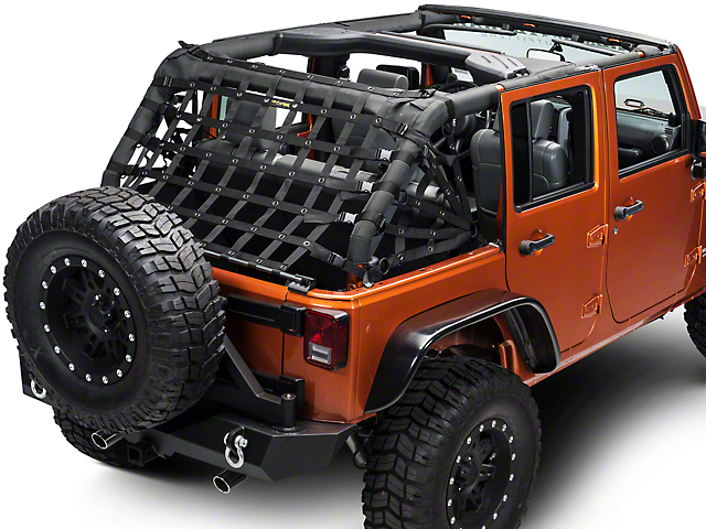 Dirty Dog 4x4 Rear Spider Netting; Black (07-18 Jeep Wrangler JK 4 Door)