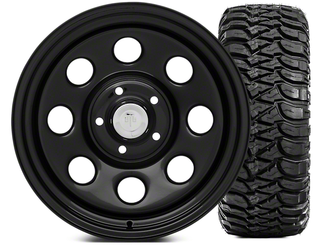 Mammoth 8 Wheel; Steel 17x9 Wheel and Mickey Thompson Baja MTZ 305/65-17 Tire Kit (07-18 Jeep Wrangler JK)