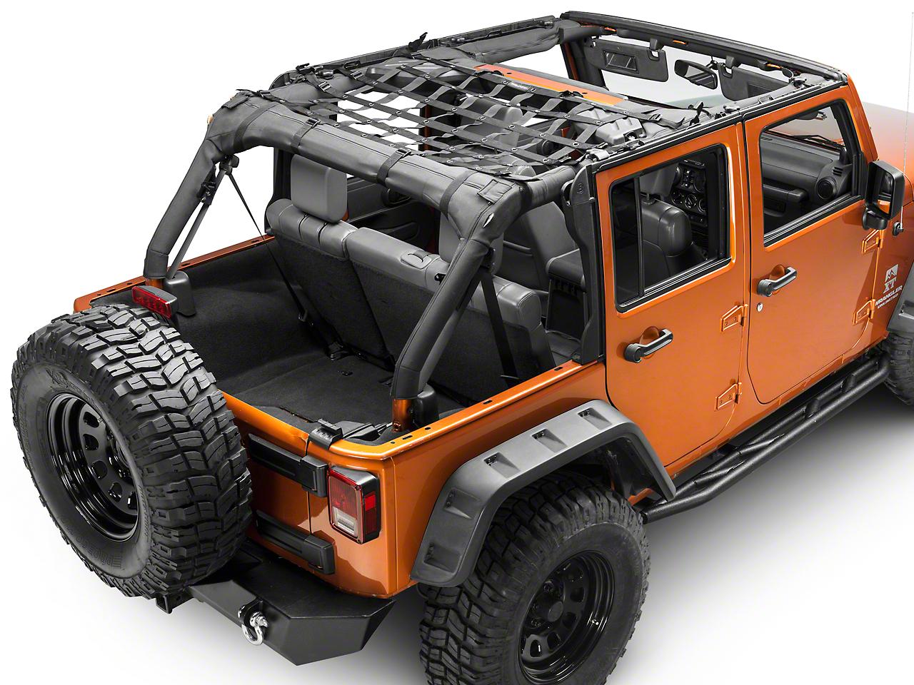 Dirty Dog 4x4 Rear Seat Netting - Black (07-11 Jeep Wrangler JK 4 Door)