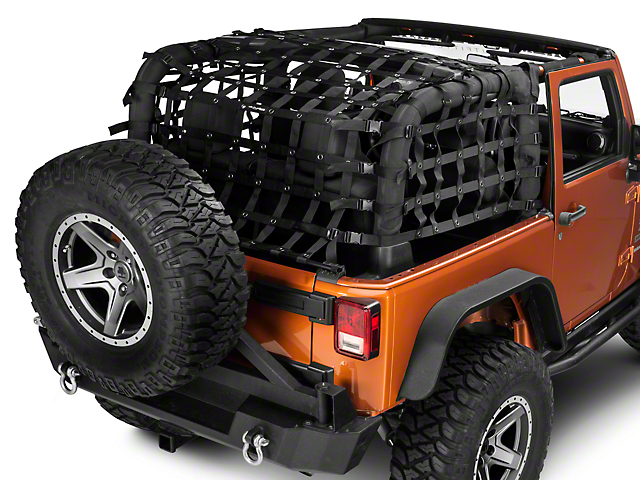 Dirty Dog 4x4 Rear Netting; Black (07-18 Jeep Wrangler JK 2 Door)