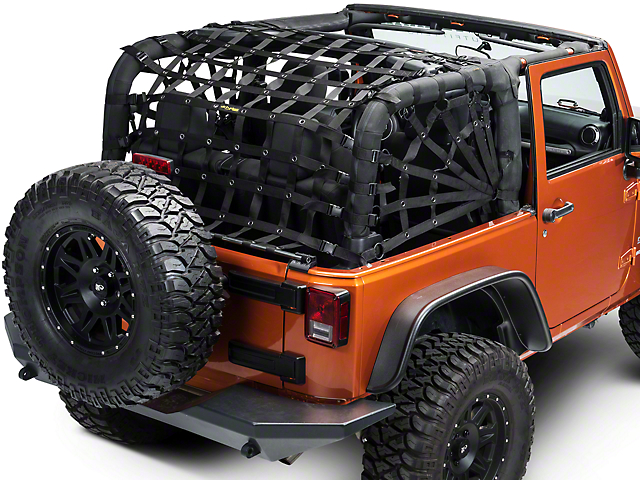 Dirty Dog 4x4 Rear Spider Netting - Black (07-18 Wrangler JK 2 Door)