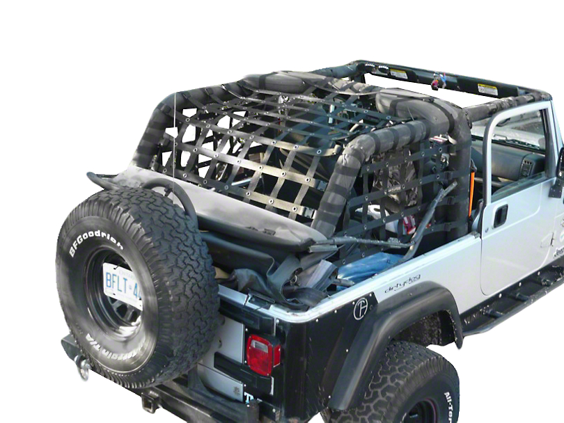 Dirty Dog 4x4 Rear Netting - Black (04-06 Jeep Wrangler TJ Unlimited)