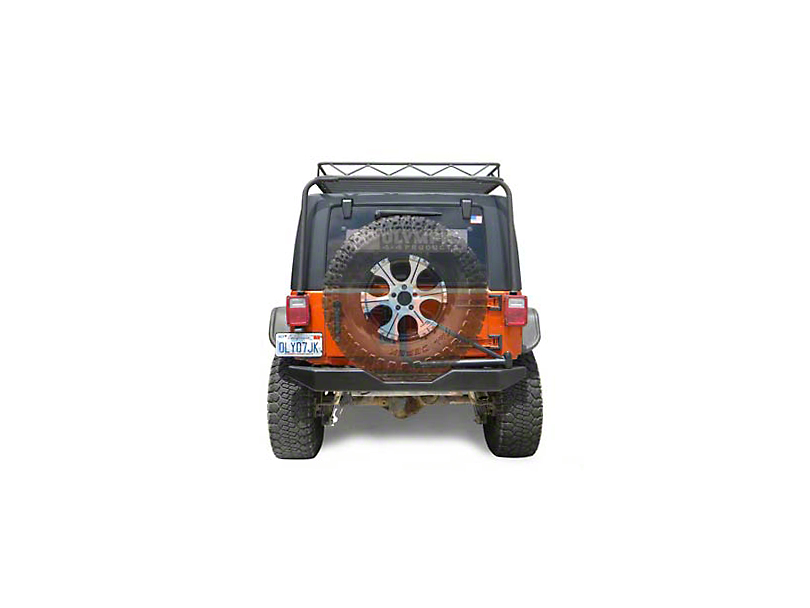 Olympic 4x4 550 Rock Bumper with Tire Carrier; Textured Black (07-18 Jeep Wrangler JK)