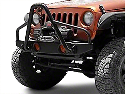 Olympic 4x4 Boa Rock Front Bumper - Textured Black (07-18 Jeep Wrangler JK)