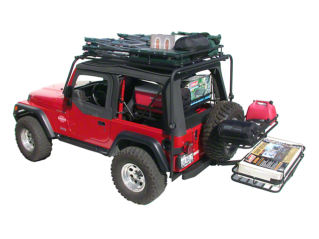 Olympic 4x4 Dave's Rack Cargo Carrier/Sunshade - Textured Black (97-06 Jeep Wrangler TJ)