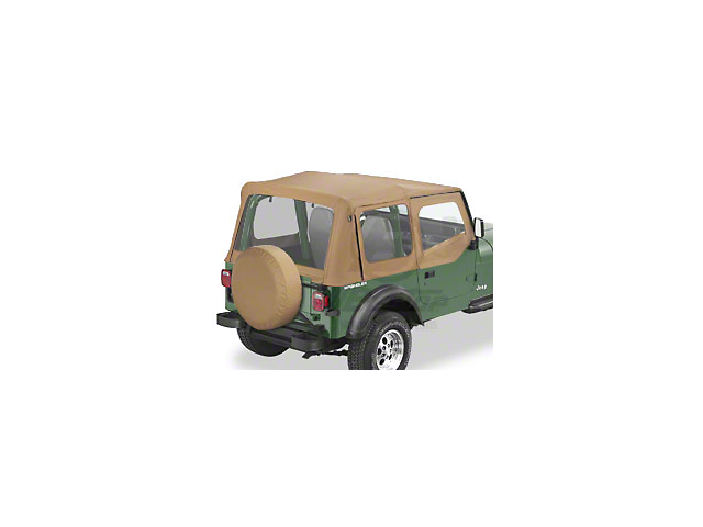 Bestop Sailcloth Replace-A-Top with Clear Windows; Spice (88-95 Jeep Wrangler YJ w/ Steel Half Doors)