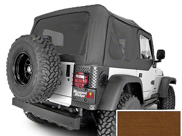 Rugged Ridge Soft Top w/ Tinted Windows & Door Skins - Khaki Diamond (03-06 Jeep Wrangler TJ w/ Factory Soft Top, Excluding Unlimited)