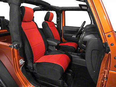 Rugged Ridge Neoprene Front Seat Covers - Black/Red (11-17 Wrangler JK)