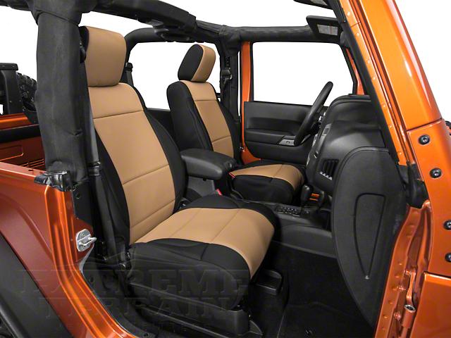 Rugged Ridge Neoprene Front Seat Covers - Black/Tan (11-18 Jeep Wrangler JK)