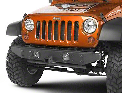 Olympic 4x4 Front Rock Bumper w/ Hitch - Textured Black (07-17 Wrangler JK)