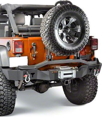 olympic 4x4 wrangler rear smuggler winch bumper w/ tire carrier - textured  black 5560-174 (07-18 jeep wrangler jk) - free shipping  extreme terrain
