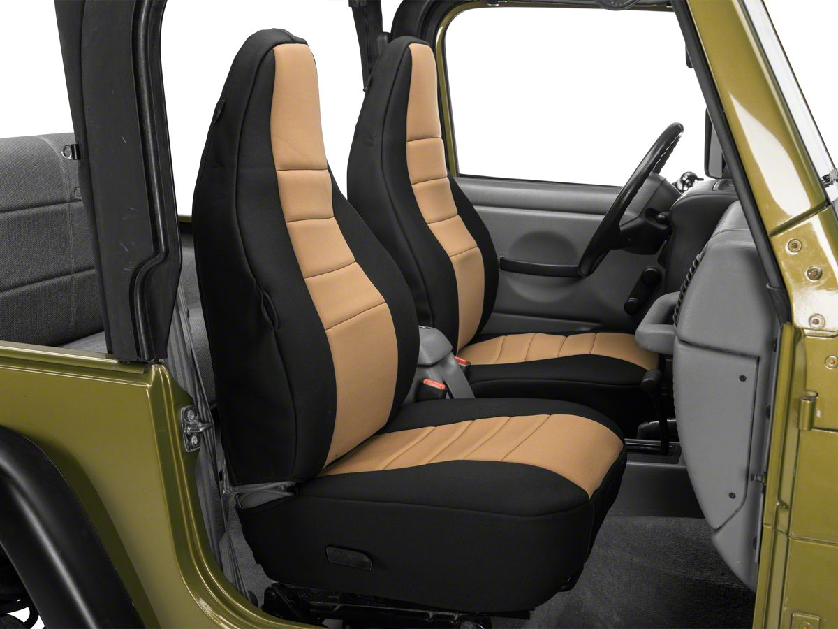 Cool Rugged Ridge Neoprene Front Seat Covers Tan 97 02 Jeep Wrangler Tj Dailytribune Chair Design For Home Dailytribuneorg