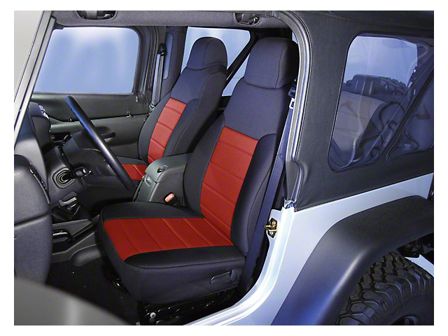 Rugged Ridge Neoprene Front Seat Covers - Black/Red (91-95 Jeep Wrangler YJ)