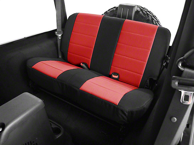 Rugged Ridge Neoprene Rear Seat Cover - Black/Red (87-95 Jeep Wrangler YJ)