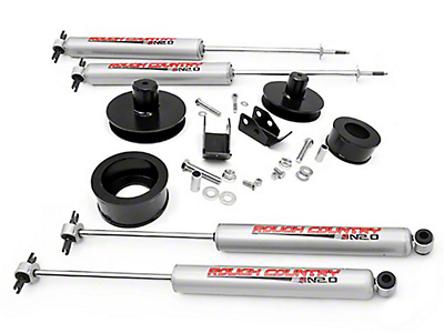 Rough Country 2 in. Suspension Lift Kit w/ Shocks (97-06 Wrangler TJ)