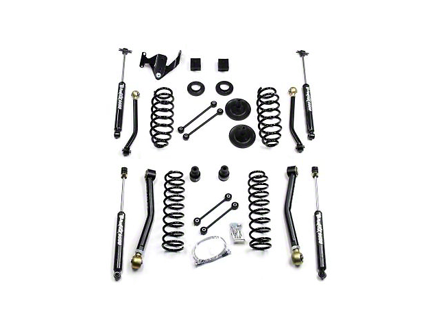 Teraflex 3 Inch Lift Kit w/ Front Lower & Extra Short Rear Upper Flex Arms w/ Shocks (07-18 Jeep Wrangler JK 2 Door)