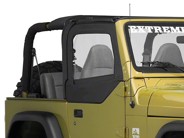 Bestop Fabric Upper Door Skins; Black Diamond (97-06 Jeep Wrangler TJ w/ Half Doors)