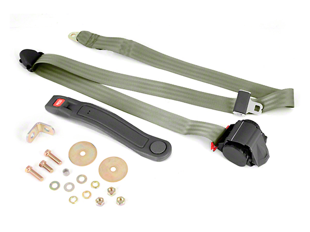 Omix-ADA Retractable 3-Point Seat Belt - Olive Drab (87-95 Wrangler YJ)
