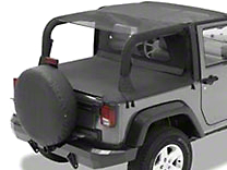 Bestop Safari Bikini Top w/ Windshield Channel - Cable Style - Black Mesh (10-18 Wrangler JK 2 Door)