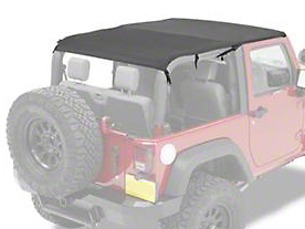 Bestop Safari Bikini Top w/ Windshield Channel - Cable Style - Black Diamond (10-18 Jeep Wrangler JK 2 Door)
