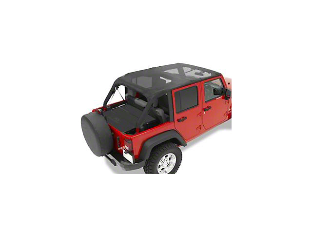 Bestop Safari-Style Header Bikini Top; Cable Style; Black Mesh (10-18 Jeep Wrangler JK 4 Door)