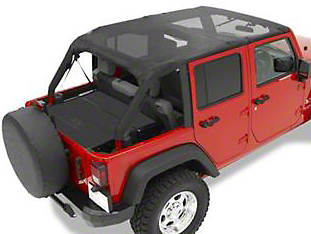 Bestop Safari Bikini Top w/ Windshield Channel - Cable Style - Black Mesh (10-18 Wrangler JK 4 Door)