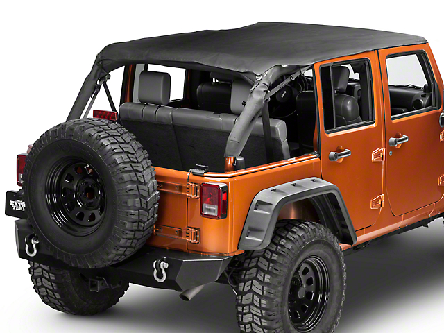 Bestop Safari Bikini Top W/ Windshield Channel   Cable Style   Black  Diamond (10 18 Jeep Wrangler JK 4 Door)