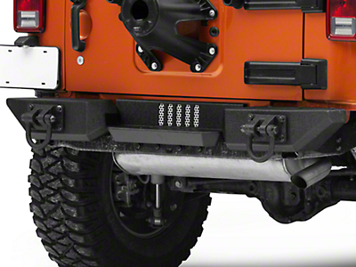 Rugged Ridge Aluminum XHD Rear Bumper Pod Center Step - Textured Black (07-18 Jeep Wrangler JK)