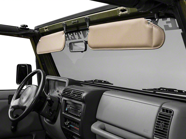 Rugged Ridge Sunvisor Set - Camel (97-02 Jeep Wrangler TJ)
