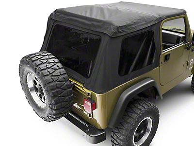 Rugged Ridge Sailcloth Bowless XHD Soft Top w/ Tinted Windows - Black (97-06 Wrangler TJ, Excluding Unlimited)