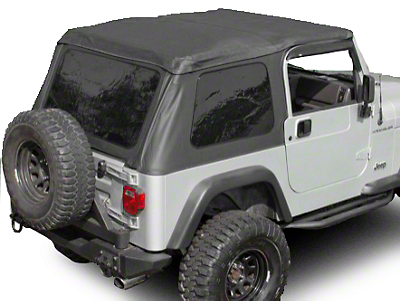 Rugged Ridge Sailcloth Bowless XHD Soft Top w/ Tinted Windows & Surrounds - Black (97-06 Jeep Wrangler TJ, Excluding Unlimited)