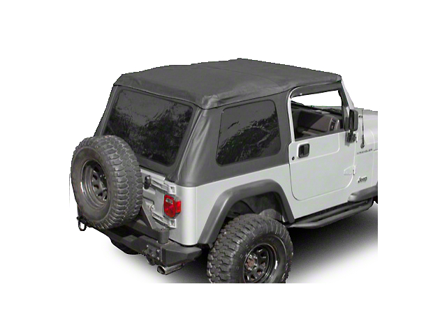 Rugged Ridge Sailcloth Bowless XHD Soft Top w/ Tinted Windows & Surrounds - Black Diamond (97-06 Jeep Wrangler TJ, Excluding Unlimited)