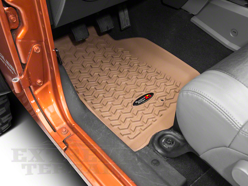 Rugged Ridge All-Terrain Front & Rear Floor Mats - Tan (07-13 Jeep Wrangler JK 4 Door)