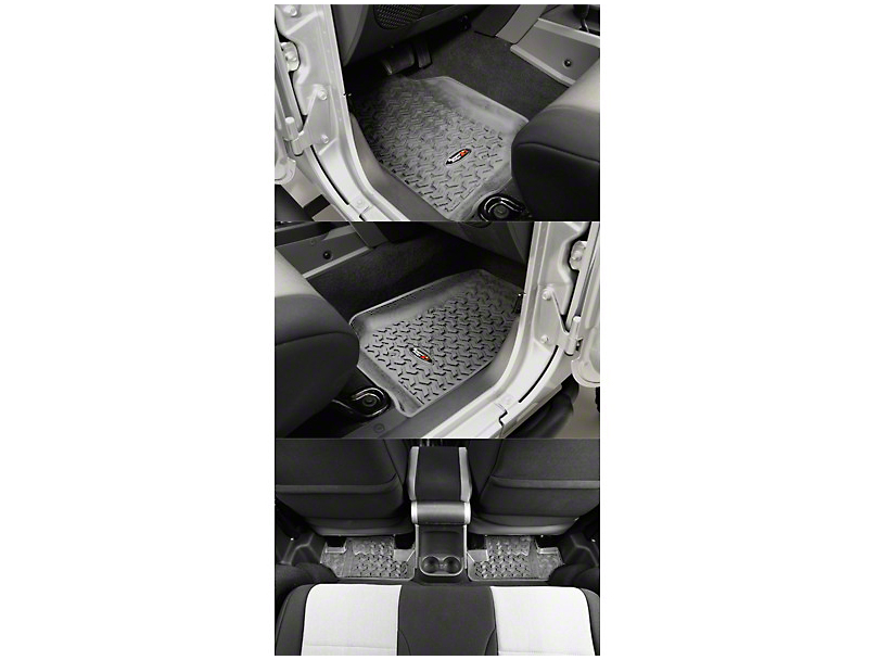 Rugged Ridge All Terrain Front & Rear Floor Mats - Gray (07-13 Jeep Wrangler JK 2 Door)