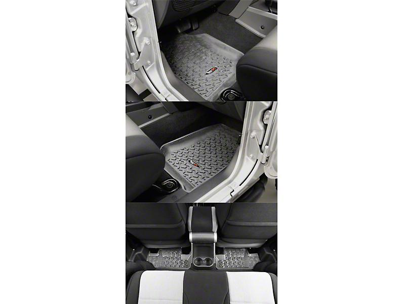 Rugged Ridge All Terrain Front & Rear Floor Liners - Gray (07-13 Jeep Wrangler JK 2 Door)