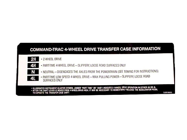 Transfer Case Sunvisor Decal (97-98 Jeep Wrangler TJ)