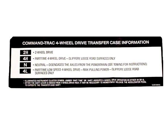 Omix-ADA Transfer Case Sunvisor Decal (97-98 Jeep Wrangler TJ)