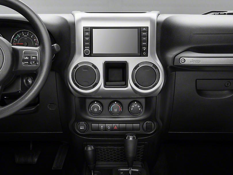 Rugged Ridge Center Radio Console Trim - Brushed Silver (11-18 Jeep Wrangler JK)