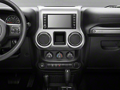 Rugged Ridge Center Radio Console Accent Trim - Brushed Silver (11-18 Jeep Wrangler JK)